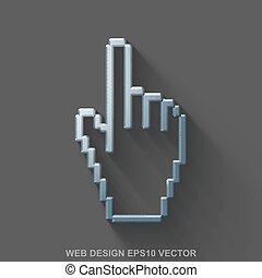 開発, 平ら, 磨かれる, 10, 網, 鋼鉄, eps, 金属, カーソル, バックグラウンド。, 灰色, vector., icon., マウス, 3d