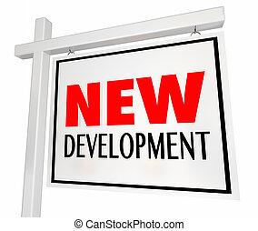 開発, 建物, 家, セール, イラスト, 印, 新しい 家, 3d