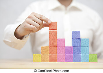 開発, 概念, ビジネス, カラフルである, 積み重ね, 人, 木製である, blocks., 手