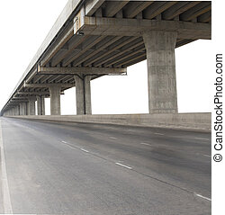 開発, 橋, 使用, サービス, 政府, 隔離された, セメント, civi, コンクリート, 背景, 白,...