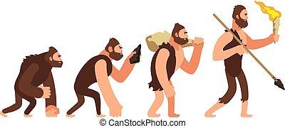 開発, 理論, イラスト, 人類学, ベクトル, 人間, 人, stages., evolution.
