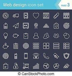 開発, 網アイコン, 現代, 隔離された, 暗い, バックグラウンド。, seo, デザイン, なでられる