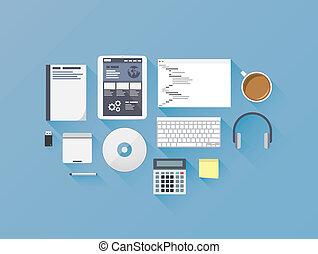 開発, 網, コーディング, 平ら, アイコン