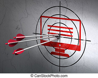 開発, 網, モニター, 壁, 矢, 背景, concept:, ターゲット