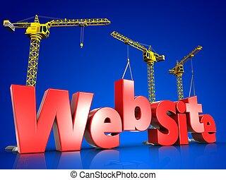 開発, 網, 上に, 青, サイト, 3d