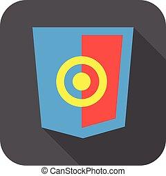 開発, 網, 保護, シンボル, javascript, 灰色, 長い間, 印, 目標, ベクトル, html5, 影, バッジ, アイコン