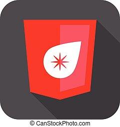 開発, 網, 星, 保護, 灰色, 低下, 隔離された, 長い間, 印, 影, バッジ, 赤, アイコン