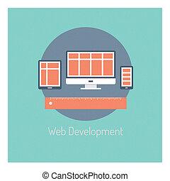 開発, 網, 概念, イラスト