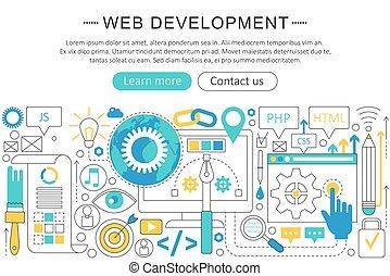開発, 網, 要素, poster., 平ら, 優雅である, concept., ヘッダー, layout., ウェブサイト, プレゼンテーション, ベクトル, 薄くなりなさい, フライヤ, 線, 旗