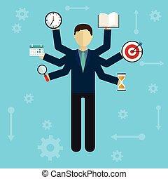 開発, 資源, service., 自己, -, イラスト, ベクトル, 人間, インターネット, 多重タスク処理, ...