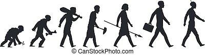 開発, 進化, サル, 穴居人, silhouette., ベクトル, 人類, 人間, 成長する, ビジネスマン, concept., 猿