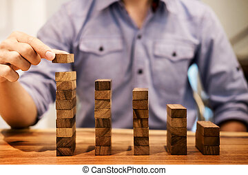 開発, 階段, ブロック, 成功, ビジネス, 積み重ね, 置かれた, 手, 木製の階段, 概念, 成長, 計画, 手配する, 人