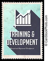開発, 青, 訓練, design., 平ら