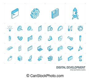開発, app, icons., ベクトル, 線, 3d, 網, 等大