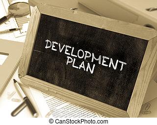 開発, blackboard., チョーク, 計画, 白, 手書き