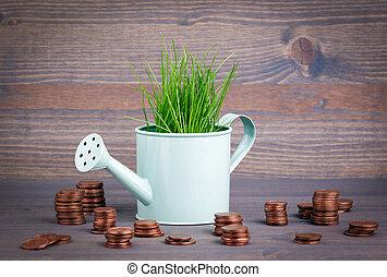 開発, change., ビジネス, 春, ポット, 水まき, ミニチュア, 緑の背景, 小さい, 新たに, 草, 抽象的