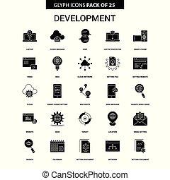 開発, glyph, ベクトル, セット, アイコン