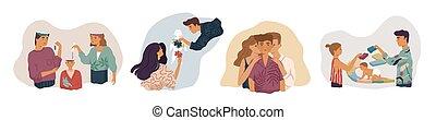 開発, set., 親であること, 共有, 父, 関係, childcare, 親, 母, concepts., metaphor., ベクトル, 心配, 影響, 知識, 家族, 子供, イラスト, 親, 子供
