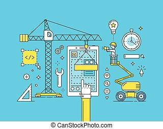 開発, ux, モビール, app, プロセス, ui, 薄いライン