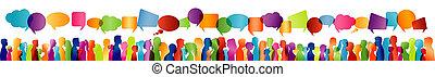 ∥間に∥, 人々, silhouette., -, 話し。, 群集, プロフィール, 多数, コミュニケーション, ...
