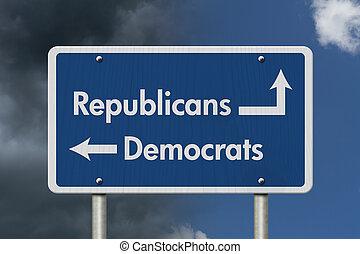 ∥間に∥, 民主主義者, 相違, 共和党員