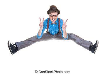間抜け, 印, geek, 跳躍, v, nerd