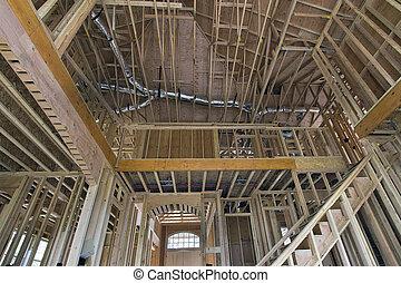 間柱, 家, 木, two-storey, 枠組み