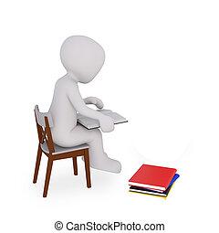間, 本, 読書, 人間が座る