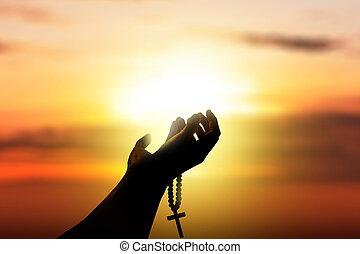 間, 神, 上げられた手, 祈ること, ロザリオ, 人間, ビーズ