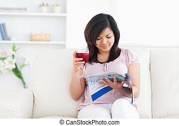 間, 読書, 保有物, ワイン ガラス, 女, 赤, 雑誌