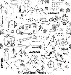 関係した, キャンプ, 旅行する, seamless, パターン, 要素, ハイキング, 引かれる, 手