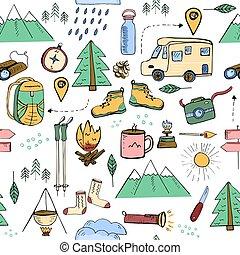 関係した, キャンプ, 旅行する, seamless, パターン, 要素, ハイキング, 引かれる