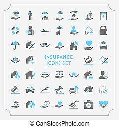 関係した, 単純である, icons., 線, セット, ベクトル, 保険