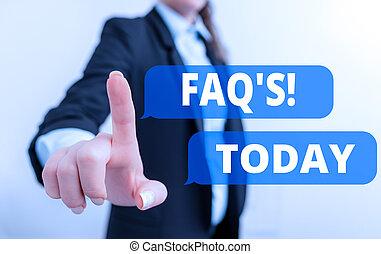 関係をもつ, テキスト, デジタル, 概念, 提示, 特定, 主題, woman., 写真, faq., 概念, リスト, 黒, スイート, 質問, 答え, ビジネス 印