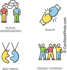 関係, イラスト, タイプ, 理解, 相互, 社会, 友情, 競争, 友人, company., 最も良く, symbols., rgb, 色, interpersonal, ベクトル, 接続, 隔離された, set., アイコン, 味方