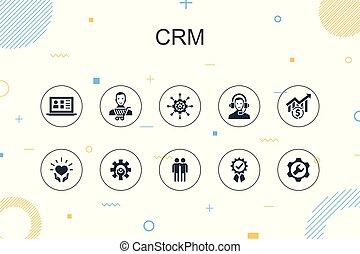 関係, サービス, 薄いライン, 最新流行である, infographic, デザイン, 管理, 顧客, template., crm, アイコン
