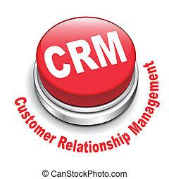 関係, ボタン, 隔離された, イラスト, 背景, (customer, management), 白, crm, 3d