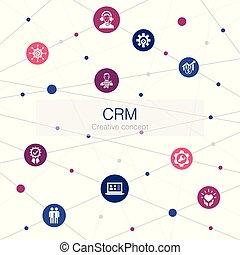 関係, 網, 顧客, 最新流行である, icons., そのような物, テンプレート, 管理, 単純である, crm, ∥含んでいる∥, 要素