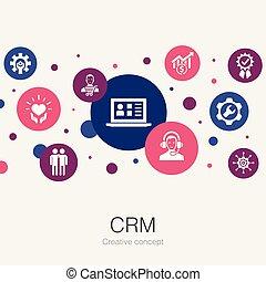 関係, 顧客, 円, 最新流行である, icons., そのような物, テンプレート, 管理, 単純である, crm, ∥含んでいる∥, 要素