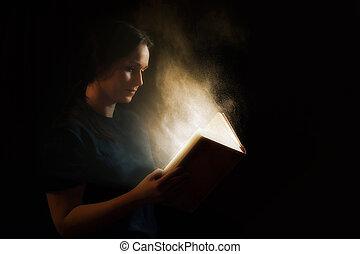 閱讀, a, 發光, 書