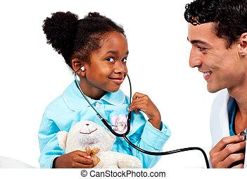 關心, 他的, 病人, 醫生, 年輕, 玩
