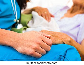 關心, 護士, 扣留手