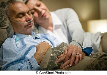 關心, 退休, 妻子, 病, 睡覺, 人
