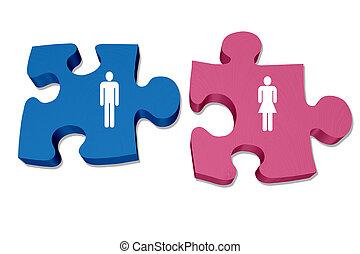 關系, 婦女, 相互作用, 人, 理解