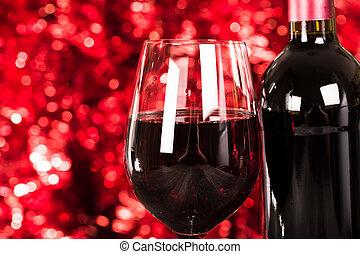 關閉, 上, 杯   紅葡萄酒, 由于, 光, 背景。
