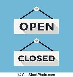 關閉, 以及, 打開, signs., 長, 陰影, 套間, design., 矢量, 簽署, 集合