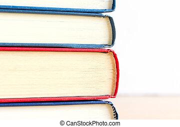 關閉, 圖像, ......的, 書, 上, 木製的桌子