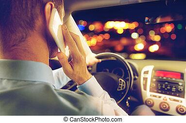 關閉, ......的, 人駕駛, 汽車, 叫, 上, smartphone