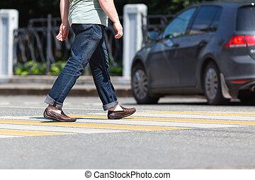 關閉, ......的, 人, 步行, 上, 街道