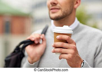 關閉, ......的, 人, 由于, 咖啡茶杯, 上, 街道